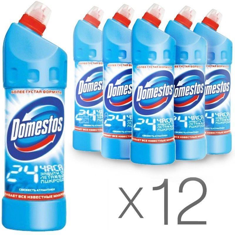 Domestos Свіжість Атлантики, Засіб для очищення, 1 л, Упаковка 12 шт.
