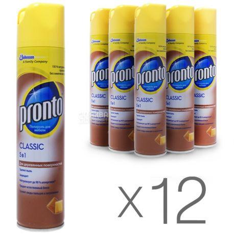 Pronto, Classic, 250 мл, Упаковка 12 шт., Полироль 5 в 1 для деревянных поверхностей