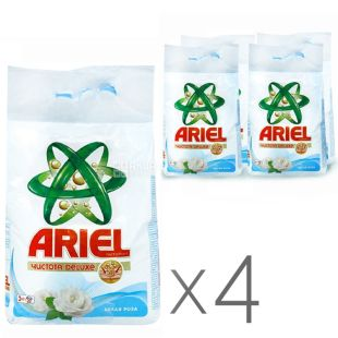 Ariel, Упаковка 4 шт. по 3 кг, Стиральный порошок, Для белого белья, Чистота Deluxe, Белая роза, Автомат