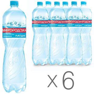 Миргородская Лагидна, Вода минеральная слабогазированная, 1,5 л, Упаковка 6 шт.
