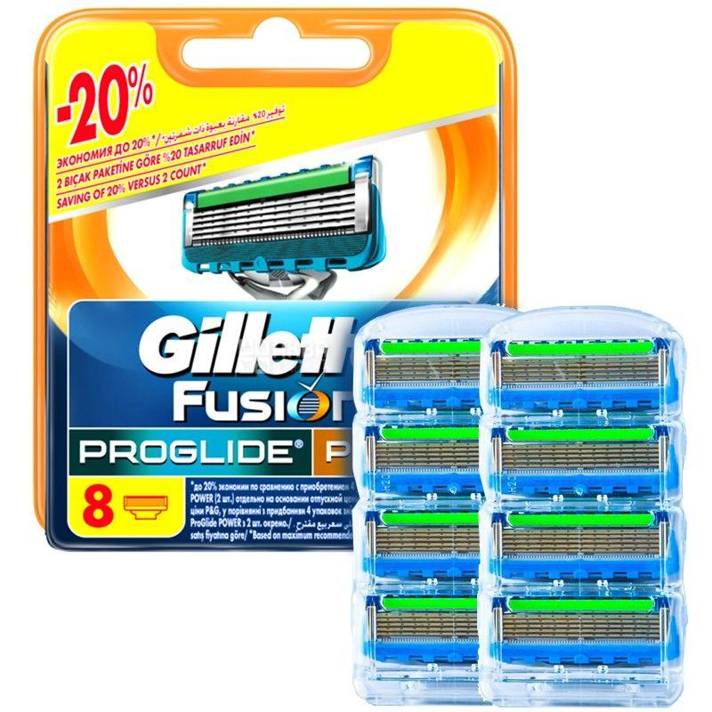 Gillette, 8 шт., сменные кассеты, Fusion ProGlide Power