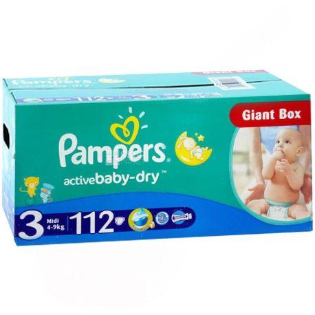 Pampers Active Baby Dry, 112 шт., Памперс, Подгузники-трусики, Размер 3, 4-9 кг