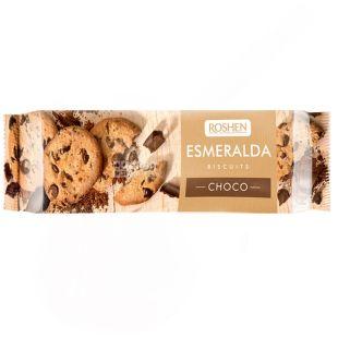 Roshen, 150 г, печенье, с кусочками шоколадной глазури, Esmeralda