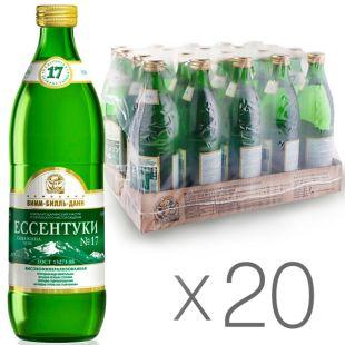 Ессентуки-17, 0,54 л, Упаковка 20 шт., Вода минеральная газированная, стекло