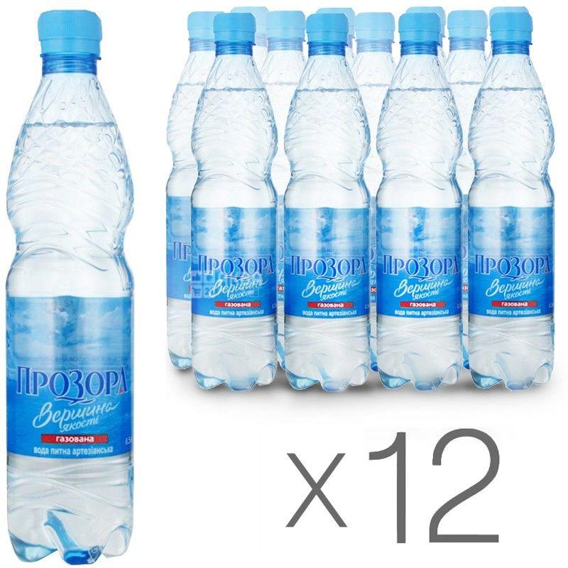 Прозора, 0,5 л, Упаковка 12 шт., Вода минеральная сильногазированная, ПЭТ