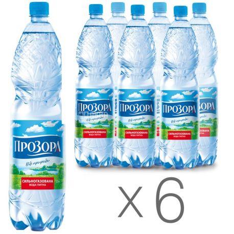 Прозора, 1.5 л, Упаковка 6 шт., Вода минеральная сильногазированная, ПЭТ