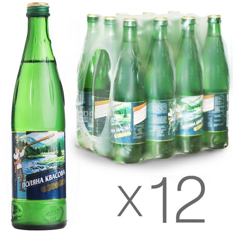 Поляна Квасова, упаковка 12 шт. по 0,5 л, газированная вода, стекло