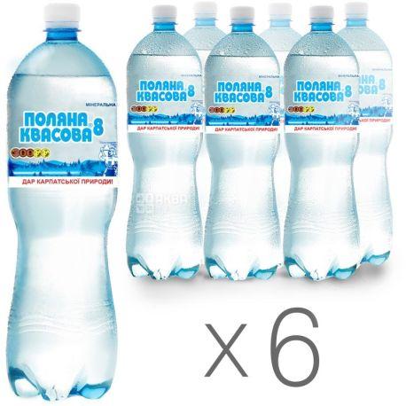 Поляна Квасова-8, 1,5 л, Упаковка 6 шт., Вода мінеральна сильногазована, ПЕТ