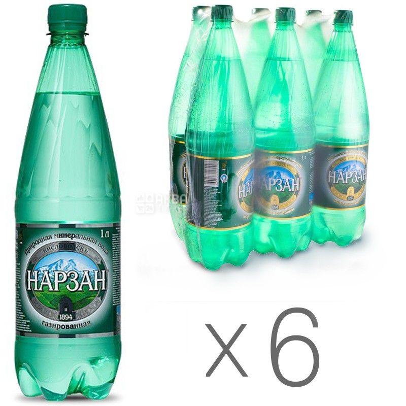 Нарзан, упаковка 6 шт. по 1 л, газированная вода, ПЭТ