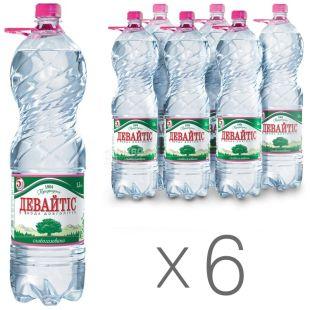 Девайтіс, Упаковка 6 шт. по 1,5 л, Вода слабогазована, Мінеральна, ПЕТ