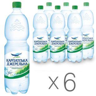 Карпатська Джерельна, 1,5 л, Упаковка 6 шт., Вода минеральная слабогазированная, ПЭТ