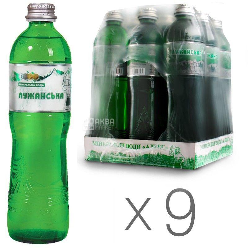 Лужанська Алекс, 0,5 л, Упаковка 9 шт., Вода мінеральна газована, скло