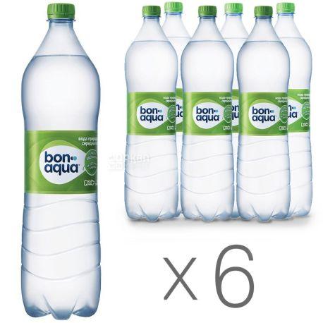 BonAqua, Packing 6 pcs. 1.5 l each, lightly carbonated water, PET, PAT