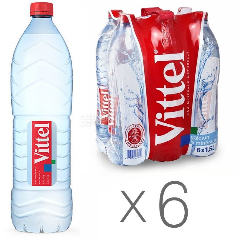 Vittel, Упаковка 6 шт. по 1,5 л, Вода негазированная, Минеральная, ПЭТ