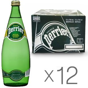 Perrier, Packing 12 pcs. 0.75 l each, highly carbonated water, mineral, glass, glass