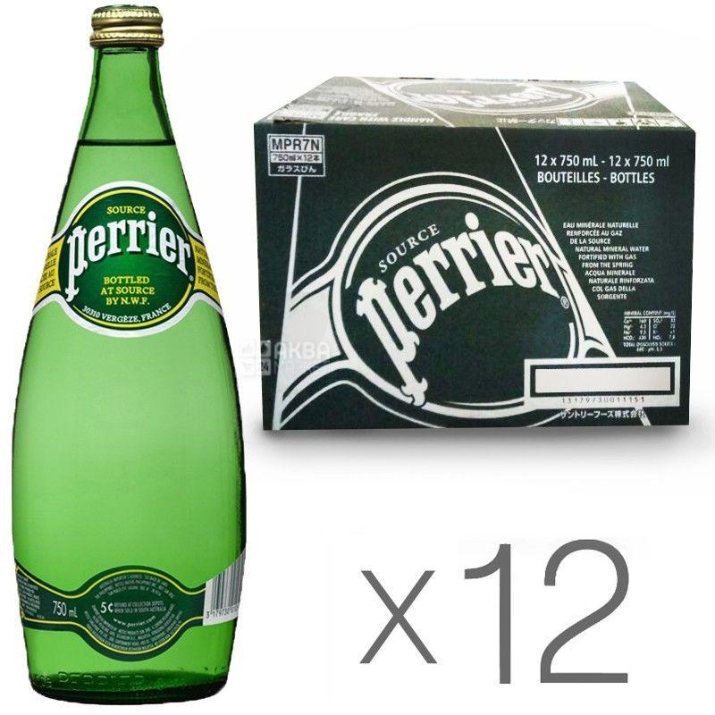 Perrier, Упаковка 12 шт. по 0,75 л, Вода сильногазированная, Минеральная, стекло