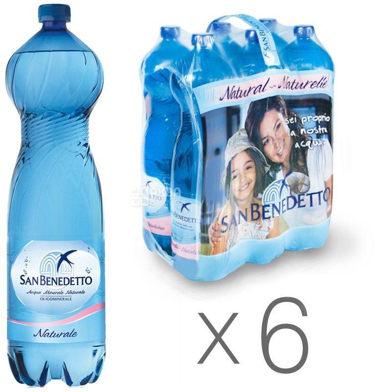 San Benedetto, 1,5 л, Упаковка 6 шт., Сан Бенедетто, Вода мінеральна негазована, ПЕТ