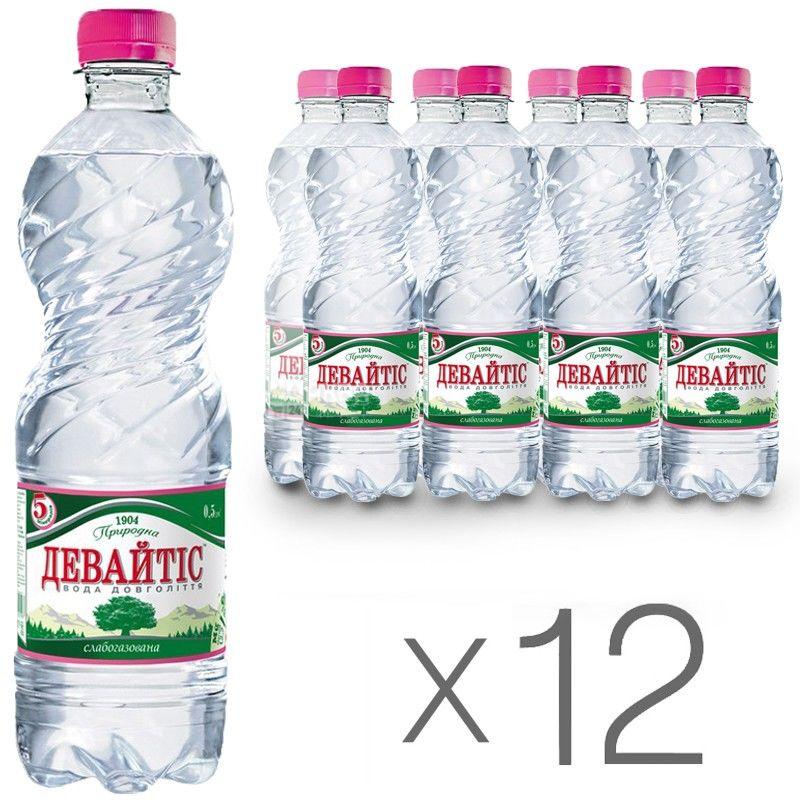 Девайтис, 0,5 л, Упаковка 12 шт., Вода минеральная слабогазированная, ПЭТ