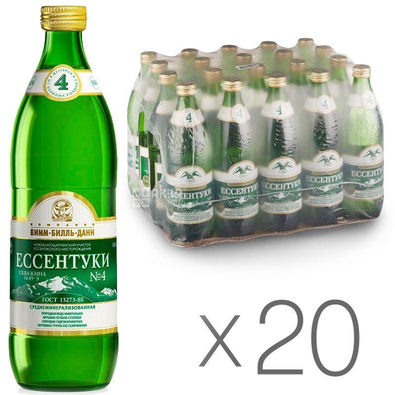 Ессентуки-4, 0,54 л, Упаковка 20 шт., Вода минеральная газированная, стекло