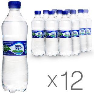 BonAqua, 0,5 л, Упаковка 12 шт., БонАква, Вода мінеральна сильногазована, ПЕТ
