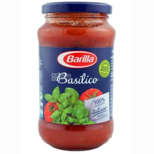 Barilla, 400 г, соус томатний, Basilico, З базиліком, скло