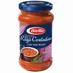 Barilla, 400 г, соус томатный, Ragu Contadino, С красным сухим вином, стекло