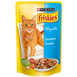 Friskies, 100 г, корм, для котов, с лососем и тунцом в подливе