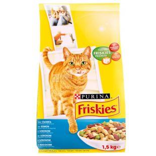 Friskies, 1500 г, корм, для котов, с лососем и овощами, сухой, Adult