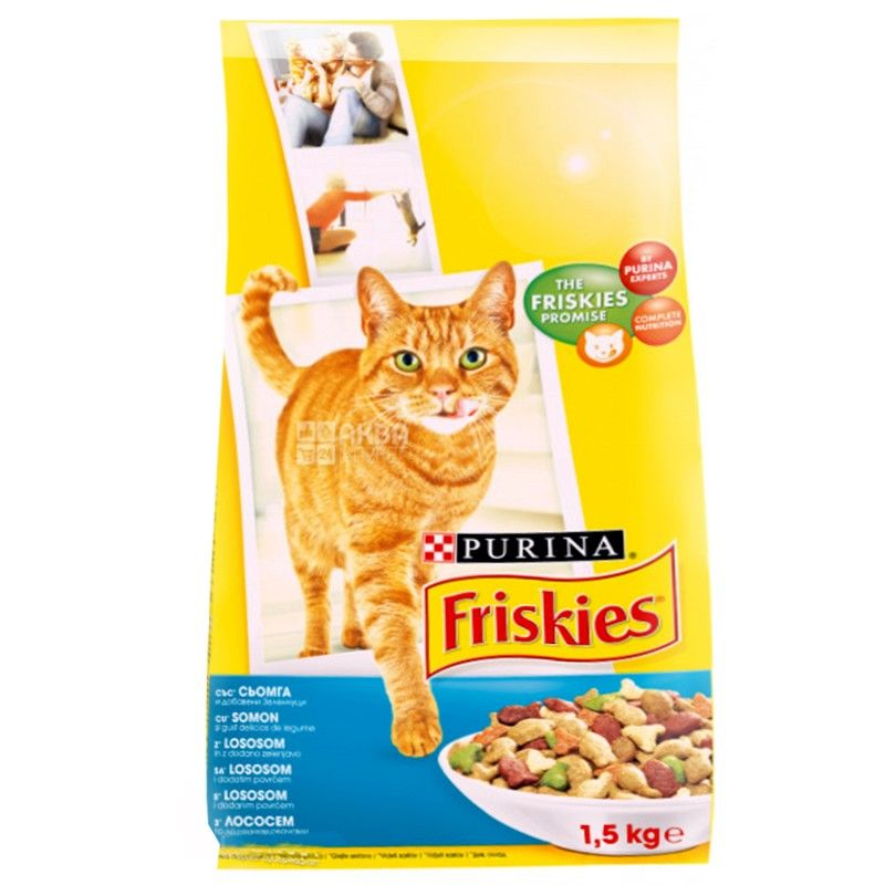 Friskies, 1500 г, корм, для котів, з лососем та овочами, сухий, Adult