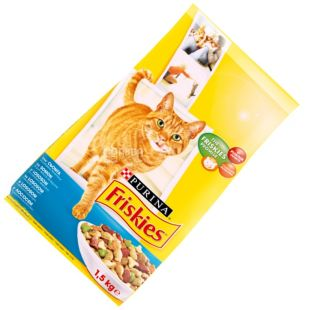 Friskies, 1500 g, food, for cats, with salmon and vegetables, dry, Adult