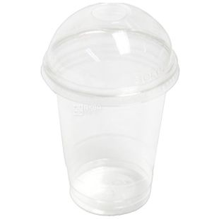 Glass plastic With a dome cover Transparent 300 ml, 50 pcs.