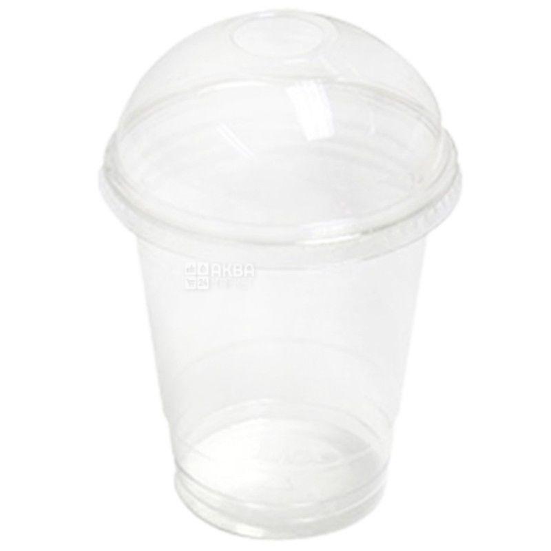 Стакан пластиковый С купольной крышкой Прозрачный 500 мл, 50 шт.