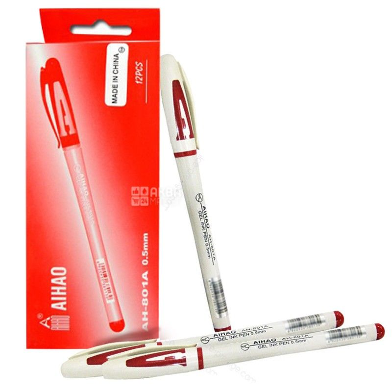 AIHAO, 12 шт., 0,5 мм, ручка гелева, Червона