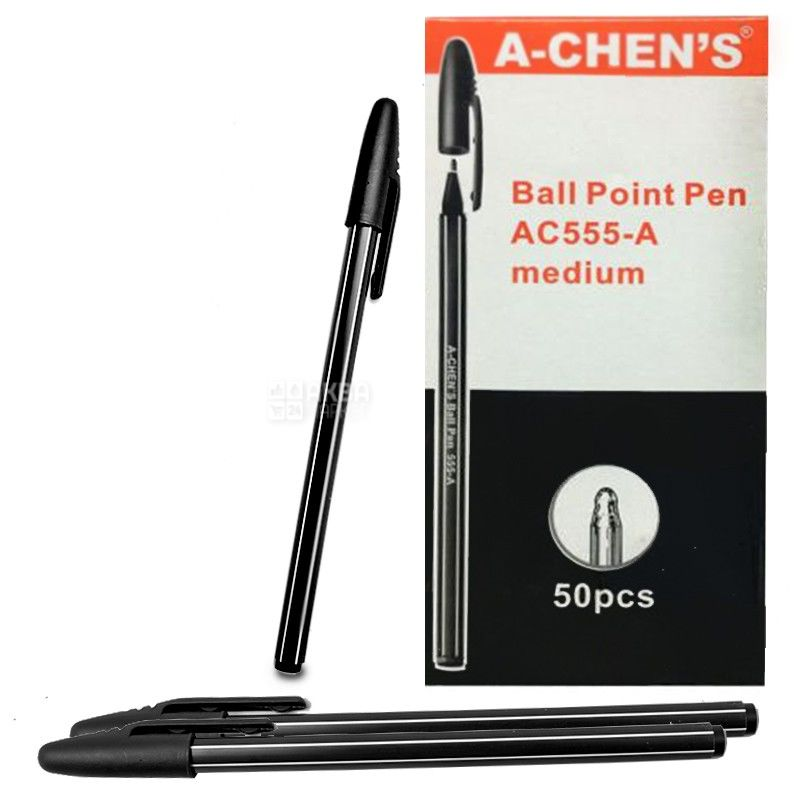 A-Chen's, 50 шт., 0,5 мм, ручка шариковая, Черная