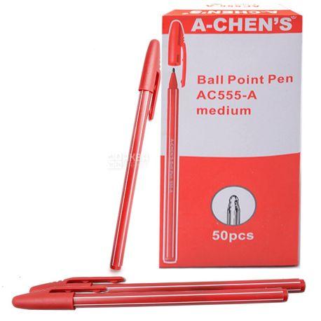 A-Chen's, 50 шт., 0,5 мм, ручка кулькова, Червона