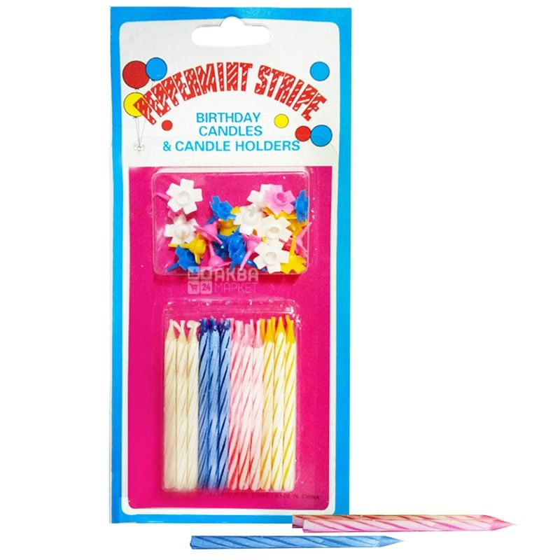 Cake Candle, 24 Pieces, Mini, Color Assorted