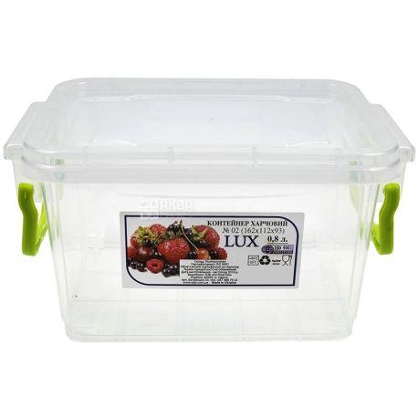 LUX, Контейнер пищевой №2, Пластиковый, 162х112х93мм, 0,8 л