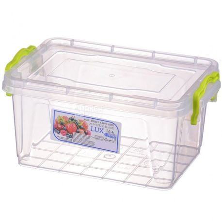LUX, Контейнер харчовий №4, Пластиковий, 212х141х105мм, 1,5л