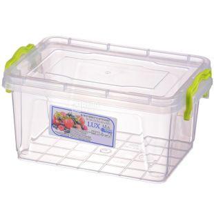 LUX, Контейнер пищевой №4, Пластиковый, 212х141х105мм, 1,5л