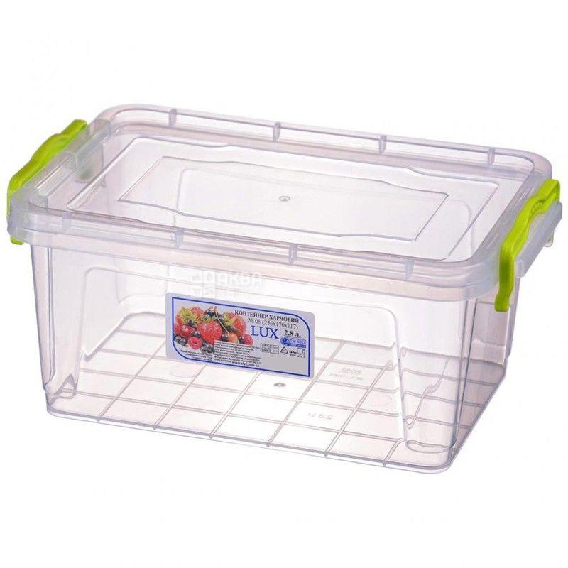 LUX, Контейнер харчовий №5, пластиковий, 256х170х117 мм, 2,8 л