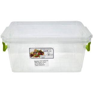 LUX, Контейнер пищевой №5, пластиковый, 256х170х117 мм, 2,8 л