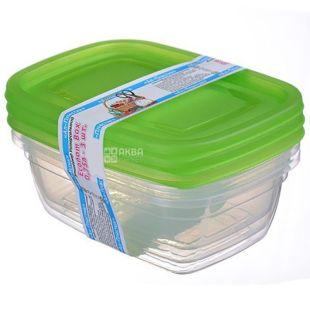 Контейнер харчовий Econom Box, пластиковий, 3 шт. по 0,75 л