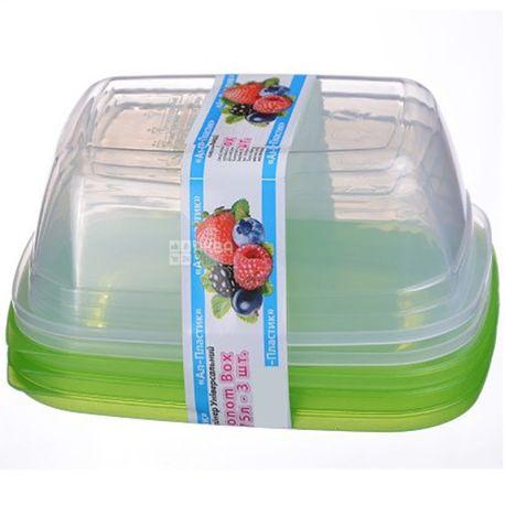 Контейнер пищевой Econom Box, пластиковый, 3 шт. по 0,75 л