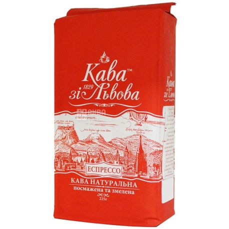 Кава зі Львова, Еспрессо, 225 г, Кава середнього обсмаження, мелена
