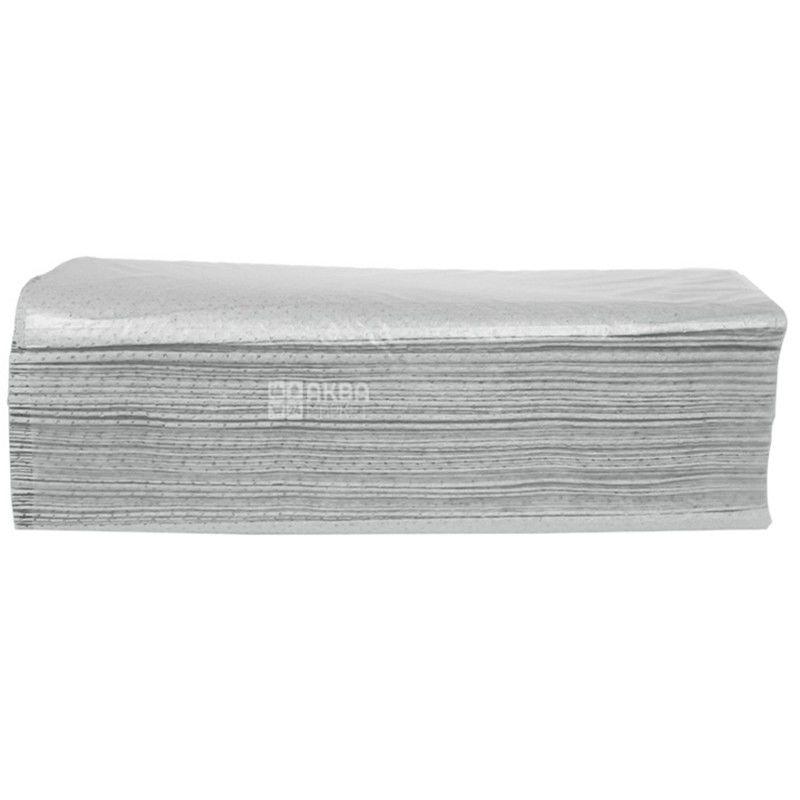 Wellis, 160 аркушів, Паперові рушники Веліс, одношарові, V-складання, сірі, 25х24 см