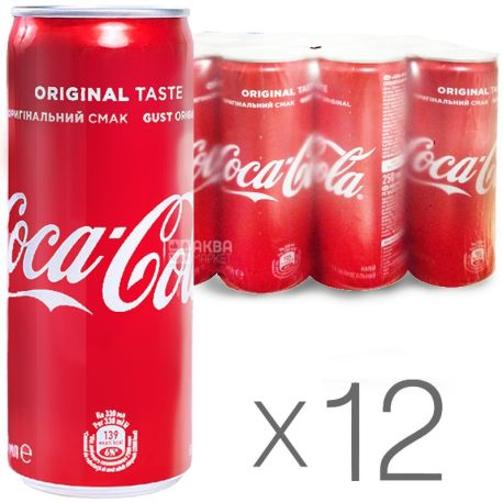 Coca-Cola, упаковка 12 шт. по 0,25 л, сладкая вода, ж/б