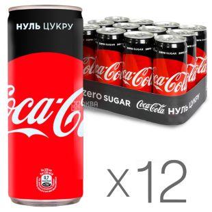 Coca-Cola Zero, Упаковка 12 шт. по 0,33 л, Кока-Кола Зеро, Вода сладкая, низкокалорийная, ж/б