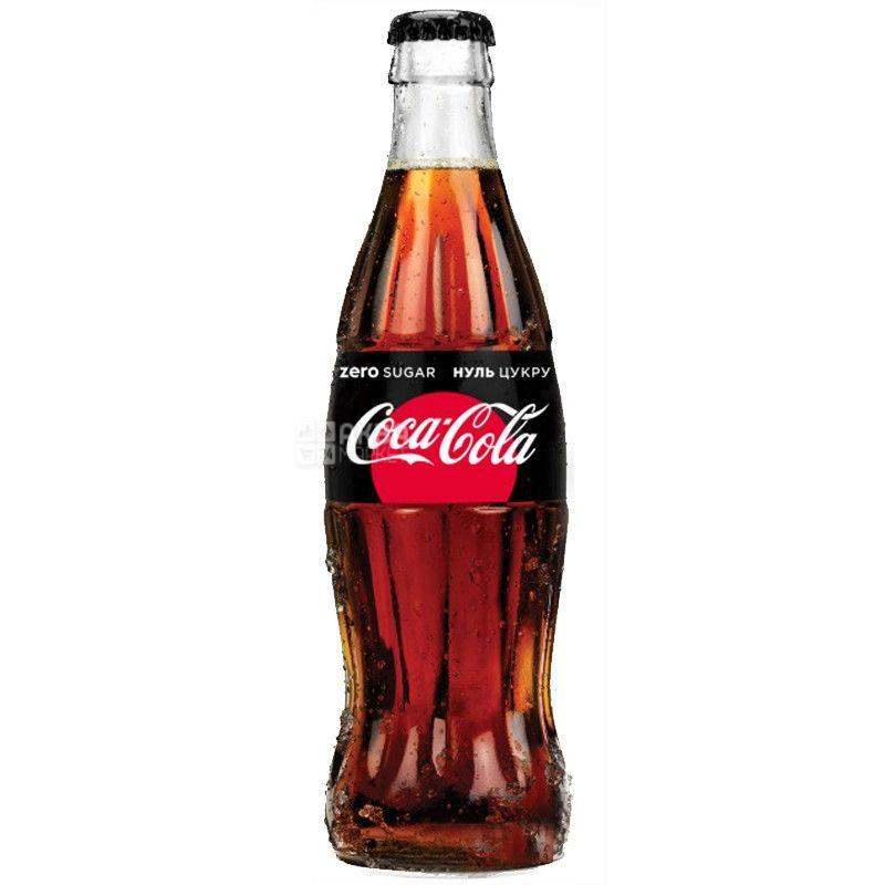 Coca-Cola Zero, Упаковка 12 шт. по 0,25 л, Кока-Кола Зеро, Вода сладкая, низкокалорийная, стекло