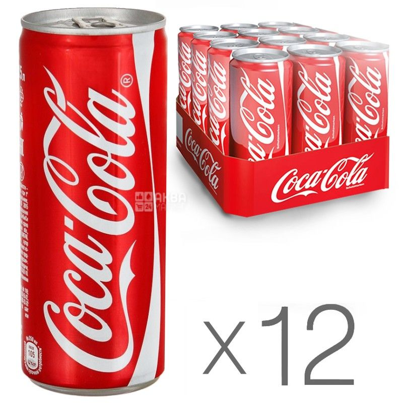 Coca-Cola, Упаковка 12 шт. по 0,33 л, Кока-Кола, Вода солодка, ж/б