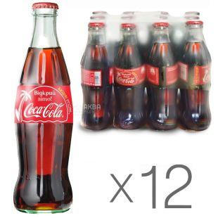 Coca-Cola, Упаковка 12 шт. по 0,25 л, Кока-Кола, Вода сладкая, стекло